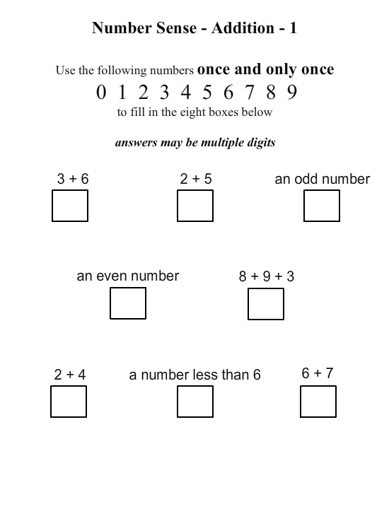 Number Sense - Addition